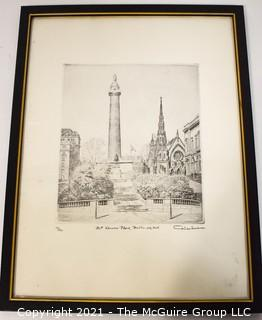 """Don Swann Signed and numbered Framed Lithograph titled """"Mt. Vernon Place, Baltimore, MD"""""""