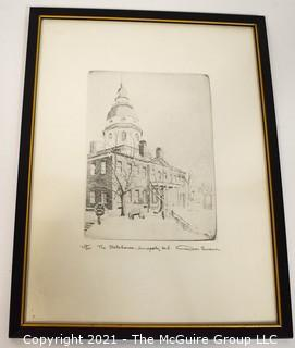 """Don Swann Signed and numbered Lithograph titled """"The Statehouse, Annapolis, MD"""""""