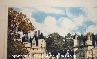 "Original Watercolor of Georges Plasse; Fr. 1878-194; ""15th Century Chateau de Rigny"""