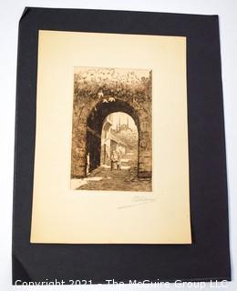 Signed (illegible) Etching on Paper of Mother and Child Under Arch