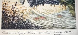 "Original Watercolor of Georges Plasse; Fr. 1878-194; ""16th Century Chateau of Azay-le-Rideau"""