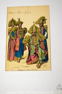 """Vintage Unframed with Mat Hand Colored Lithograph from German Book.  Entitled """"Actor From Jaffna Gud India"""", 1800s."""