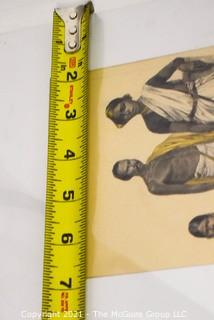 """Vintage Unframed with Mat Hand Colored Lithograph from German Book. Entitled """"People And Tribes Kling Hindu"""" 1800s."""