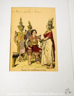 """Vintage Unframed with Mat Hand Colored Lithograph from German Book.  Entitled """"Native actors and actresses in traditional Siamese dress"""", Thailand, 1800s."""
