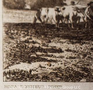 Vintage Black & White Sepia Tone Unframed Lithograph of Oxen Ploughing