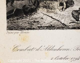Vintage Black & White Unframed Lithograph of Combat Scene, 1794