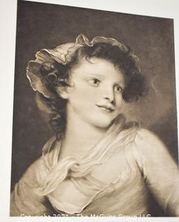 Vintage Black & White Unframed Lithograph of Young Woman