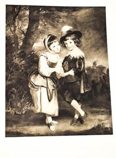 Unframed Black & White Lithograph, Two Children Dancing