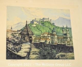 Unframed Watercolor Of Salzburg, Austria; Pencil Signed By Artist (Illegible)