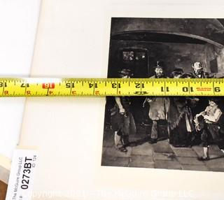Vintage Black & White Unframed Lithograph of People Waiting