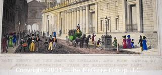 """Colored Lithograph titled """"East Side of the Bank of England, and New Tower of Royal Exchange, drawn by Tho. H. Shepard, engraved by W. Wallis and published 1828 by Jones and Co."""