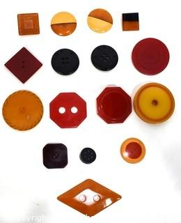 Mixed Group of Vintage Bakelite Buttons and Embellishments.