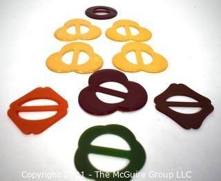 Nine (9) Vintage Bakelite Belt Buckles