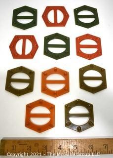 Group of Eleven (11) Vintage Carved Bakelite Hexagon Shaped Belt Buckles