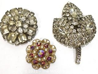 Three (3) Vintage Rhinestone Brooches Including One Made by Weiss