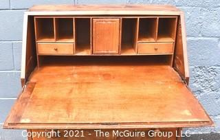 "Vintage Queen Anne Slant Front Three Drawer Secretary Desk.  Measures 41""T x 30"" x 14""."