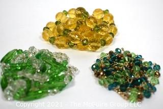 Three (3) Vinage Cut Crystal & Glass Bead Necklaces.  Includes Czech Crystal and Necklace made by Joan Rivers.