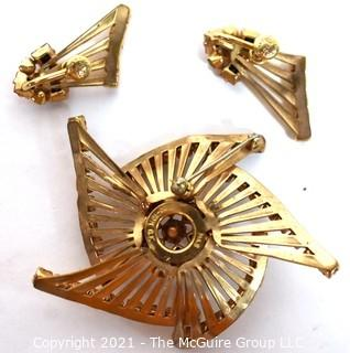 Vintage Three (3) Piece M&S for Phyllis Originals Jewelry Set Including Brooch and Screw Back  Earrings Set in 12kt Gold Filled