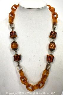 """Vintage Apple Juice Bakelite Chain Link Necklace with Faux Wood Beads. Measures 29"""" long."""