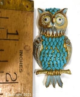 Vintage Florenza Costume Enamel Painted Owl Brooch with Googly Eyes.
