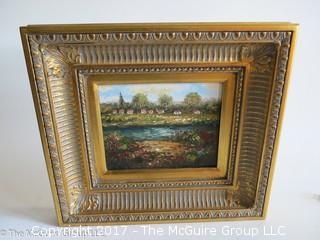"Framed original landscape painting on canvas; 16 x 18"""