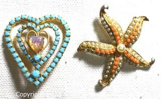 Two (2) Vintage Beaded Rhinestone Brooches in Starfish and Heart Form