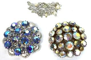 Three (3) Vintage Rhinestone Brooches Including One Made by Coro.