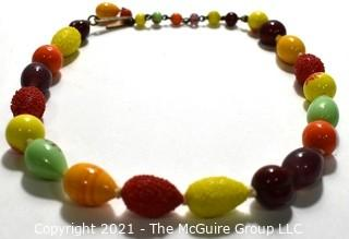 """Vintage Mid Century Hand Blown Fruit Salad Glass Bead Necklace with Adjustible Clasp.  Measures 16"""" long."""