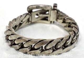 Vintage Sterling Chain Buckle Bracelet with Chunky Curb Links Adjustible Closure and Fold Over Safety Clasp.     Weighs 100.9 g.