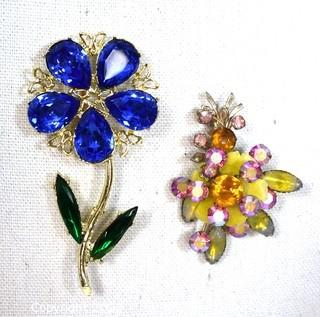 Two (2) Vintage Bright Rhinestone Flower Brooches. One with Designer Mark.