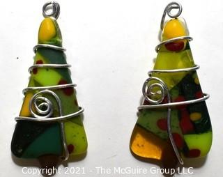 Two (2) Hand Crafted Fused Glass Christmas Tree Ornaments