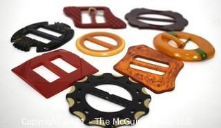 Collection of Vintage Carved and Embellished Bakelite Belt Buckles