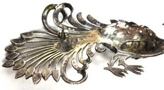 Vintage Art Deco Style Sterling Silver & Marcasite Peacock Brooch or Pin. Weighs 12g