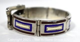 Vintage 1970's Maroon, Navy & White Enamel on Sterling Silver Hinged Buckle Bangle Bracelet, Made in Italy. Weighs 88g