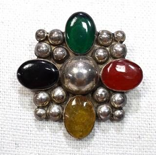 Vintage Mexico Taxco Sterling Silver with Cabochon Gem Stones Brooch or Pin. Weighs 16g