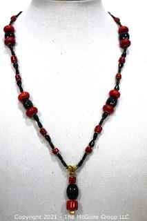 Vintage Red & Black Glass Drop Bead Necklace with Pendant Center.