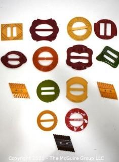 Collection of Vintage Bakelite Pull Through Buckles with Carved Decoration.