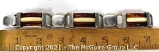 Vintage Root Beer and White Bakelite with Sterling Silver Link Bracelet. Weighs 54g