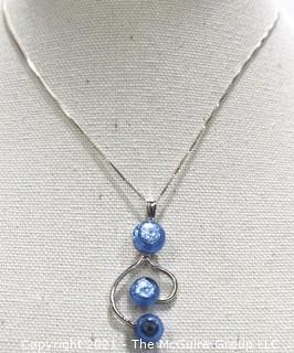 Sterling Silver Box Chain with Mounted Art Glass Blue Bead Pendant