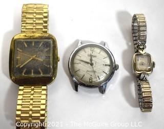 Three (3) Vintage Wrist Watches, Untested.  Includes Waltham & Hamilton.