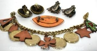 Group of Vintage Copper & Enamel Jewelry.  Includes Coin Charm Bracelet, Brooch & Matisse Clip On Earrings.