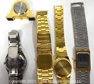 Group of Vintage Retro Band Wrist Watches and Small Desk Clock. Untested