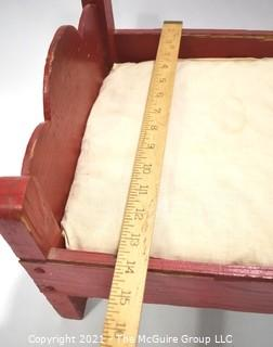 """Antique Primitive Hand Made Red Painted Doll Bed.  Measures 24"""" x 14"""" x 13""""."""