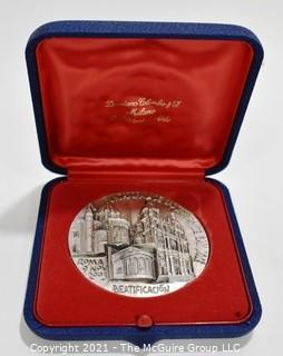 Vintage Pewter Medal in Case for the Beatification of Bonifacia Rodríguez Castro (1837/1905) in  Rome 2003.  Created by artist Cimarosti.