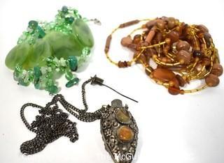Three (3) Boho Costume Jewely Necklaces.