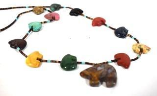 Vintage Native American Zuni Bear Fetish Multi Gemstone Bead Necklace