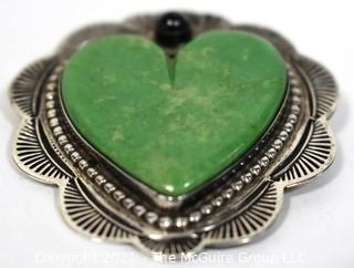 Vintage Hand Pierced Sterling Silver with Green Stone Sacred Heart Brooch
