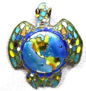 Vintage Cloisonne Enamel on Sterling Silver Turtle Brooch or Pendant with Map of World on Its Back. Weighs 8g