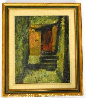 """Framed Mid Century Modern Abstract Oil on Canvas Painting.  Unsigned.  Measures 14"""" x 12""""."""