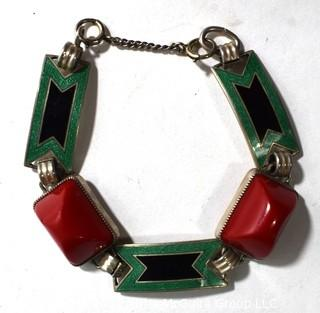 Vintage Sterling Silver Enamel Painted Link Bracelet with Red Stone Inserts Made by Jules P Goldstein Co. Weighs 24g